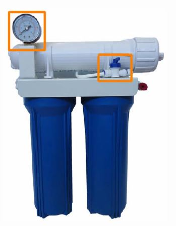 "Aquili Osmoseanlage mit 2 Filter 10"" – Spülventil und Manometer 378 l"